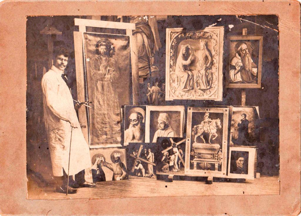 Examenstukken van Piet Knaapen voor kunstacademie Saint Luc in Brussel, rond 1900