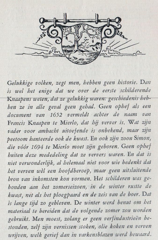 Eerste pagina uit jubileumboekje 300 jaar KnaapenGroep